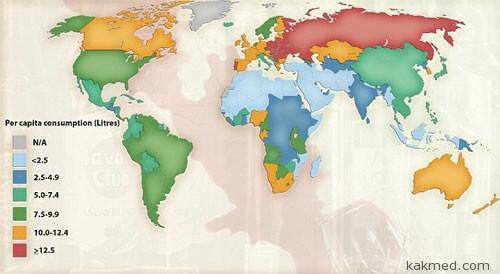 Карта алкоголизма в мире