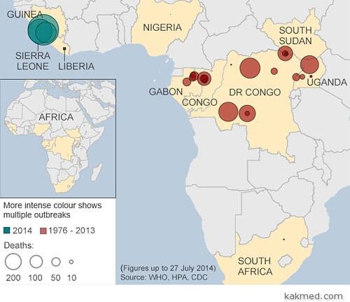 Карта лихорадки Эбола в Африке