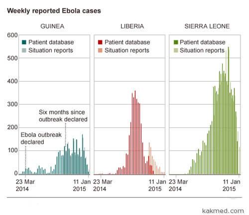 Эбола динамика по странам