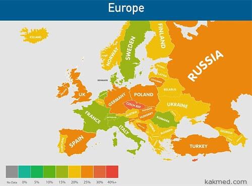 Ожирение в Европе, карта