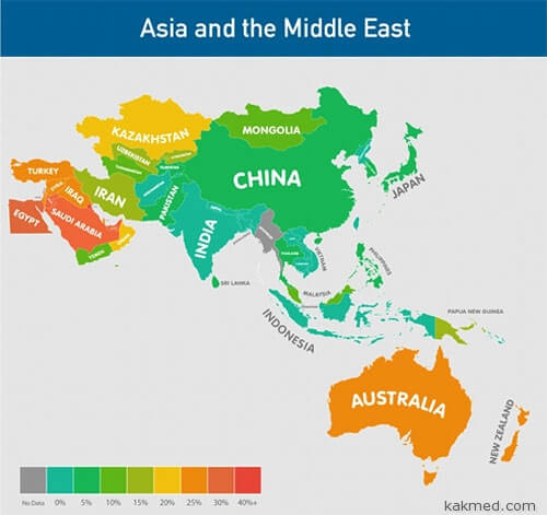 Карта ожирения Азия